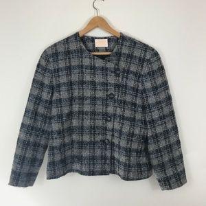 Pendleton Asymmetrical Button Plaid Wool Blazer 16